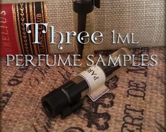 THREE 1ml Perfume Oil SAMPLES / Choose Your Scents / Set of 3 / Vegan perfume