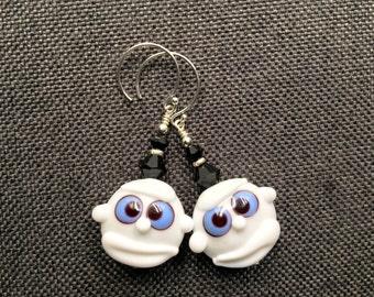 Halloween Lampwork Earrings, Spooky Earrings, Ghost Earrings, White Scary Earrings, Glass Bead Dangle Earrings, Halloween Lampwork Jewelry