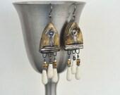 Bronze Clay Shields Earrings, Bone Teardrops, Bojo, Primitive Gypsy Earrings, Brown and White Earrings