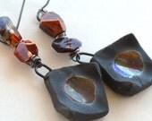 Matte Black Raku Earrings, Peacock Shimmer Ceramic Art Bead, Mexican Fire Opal Nugget Earrings