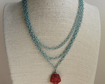 Red Pendant Necklace, Multi-Chain Necklace, Cinnabar Necklace, Verdigris Chain Necklace,  Choker Necklace