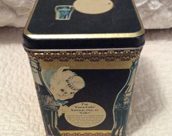 Vintage COCA COLA Tin Container Black Gold Coke Americana Advertising