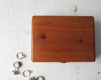 "ON SALE Vintage ""Hers"" Cedar Wood Jewelry Box - Souvenir - 7 Caves, Ohio - Velvet Interior"