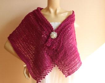 Wine Bridal Shawl / Wedding Wrap Shrug   /Hand Crochet Lace Shawl-Glitter Mohair Shawl with Pin-Ready to ship