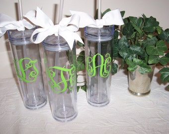 Personalized Skinny Acrylic Tumbler GIFT WRAPPED, Monogrammed Tumbler with Straw, Bridesmaid Tumblers
