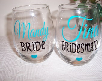 Personalized Wine Glasses, Bridesmaid Wine Glass, Bride-to-be, Bridal Party Wine Glasses GIFT WRAPPED