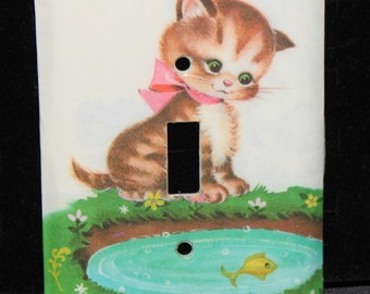 Kitten Cat Switch Plate Wallplate Light Cover 1963 Too Many Kittens Tell-a-Tales Book