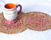 Shabby Chic Trivets, Handmade Pinky Fabric Hot Pads, 2 Modern Table Toppers, Pink Table Mats, Pink Potholders