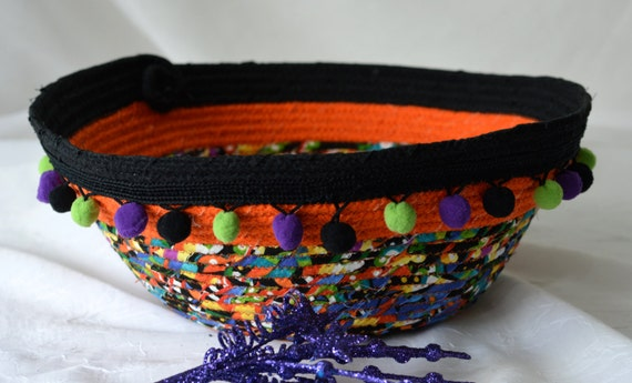 Halloween Decoration, Handmade Bowl, Fun Halloween Basket, Unique Fiber Bowl,  homemade coiled fabric basket