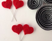 Felt Heart Straight Pins (Set of 2) - Sewing, Decoration, Gifts, Tags, Sweetheart