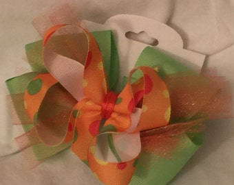 Green and Orange Hair Bow - Party Bow