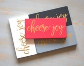 Choose Joy Painted Wood Sign, Always Choose Joy, Watermelon Pink and Gold, Today I Choose Joy, Gold Lettered Sign, Inspirational Sign