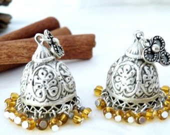 SALE!! Maghrebi Mint Tea Silver Jhumkas SALE!!