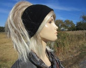 Black Knit Headband Yoga Turban Hairband Cotton Stretch Hair Wrap Women's  A1369