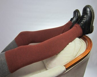 Boot Socks Thigh HIgh Leg Warmers Over The Knee Socks Brown A1570