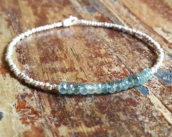 Moss Aquamarine Bracelet Moss Aquamarine Bracelets Beaded Bracelets Bead Bracelet March Birthstone Moss Aquamarine Jewelry Womens Gift Mom