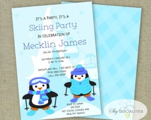 Ski Party Invitation | Skiing Party | Penguin Party | Winter, Kids, Snow |Instant Download | Editable Text PDF that You Edit In Adobe Reader