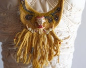 Fiber Sculpture Breastplate - Painted Skull & Beadwork on Natural Dye Talisman