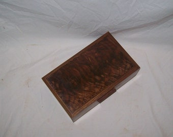 Dynamite Walnut Box with Fancy Walnut Inlayed Top 10x6x31/2Handcrafted wooden box.
