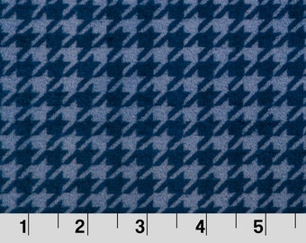 Houndstooth cuddle minkee by Shannon Fabrics in Navy and sky blue.
