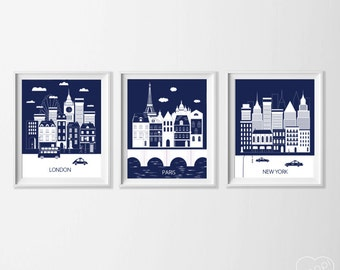 London Paris New York Art Prints , Navy Travel City Nursery Art , Kid's Wall Art , Dorm Living Room London New York Paris Wall Decor