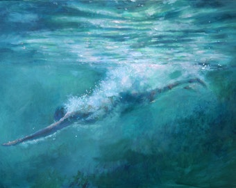 Abyss Diving - Archival quality Art Giclee Print of painting of man diving into soft green waters