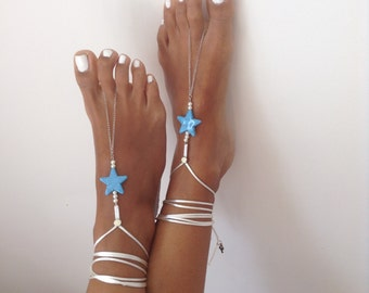 white, blue, Barefoot Sandals, wedding , Bikini , Women , Beach , Bridal Shoes , Bridal Sandals , Bridal Jewelry ,shoes , READY TO SHIP
