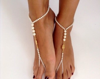 barefoot Sandals, ivory, pearl, wedding , Bikini , Women , Beach , Bridal Sandals , Bridal Jewelry ,shoes , READY TO SHIP