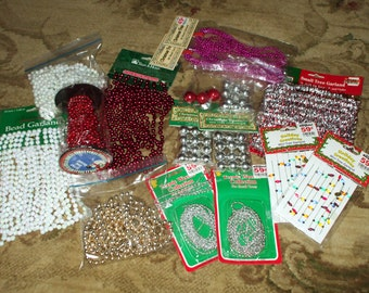 """Christmas Tree Trim Garland Beads """"Lights"""" Iridescent Pearls Red Silver Gold Pink Strands Mini Ornaments Large Assortment Some Vintage"""