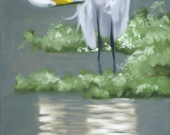 EGRET painting by RUSTY RUST large 40x30 oils on canvas / E-185
