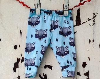 Baby Leggings Pants - Baby Infant Toddler Pants - Children's Leggings - Raccoons in blue - gender neutral leggings - infant pants