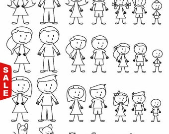 Sale! Stick Figure Clipart Clip Art, Stick People Family and Pets Clipart Clip Art - Commercial and Personal Use