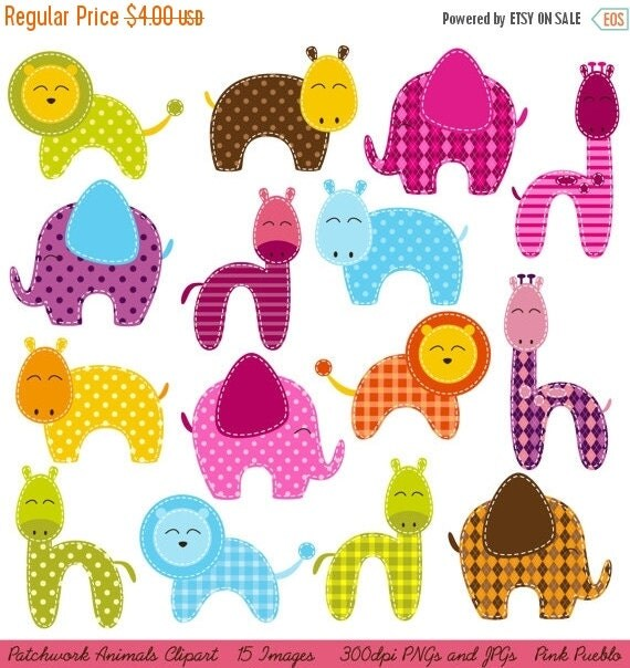 HALLOWEEN SALE Patchwork Animals Clipart Clip Art, Zoo Animals Jungle Animals Clipart Clip Art - Commercial and Personal Use