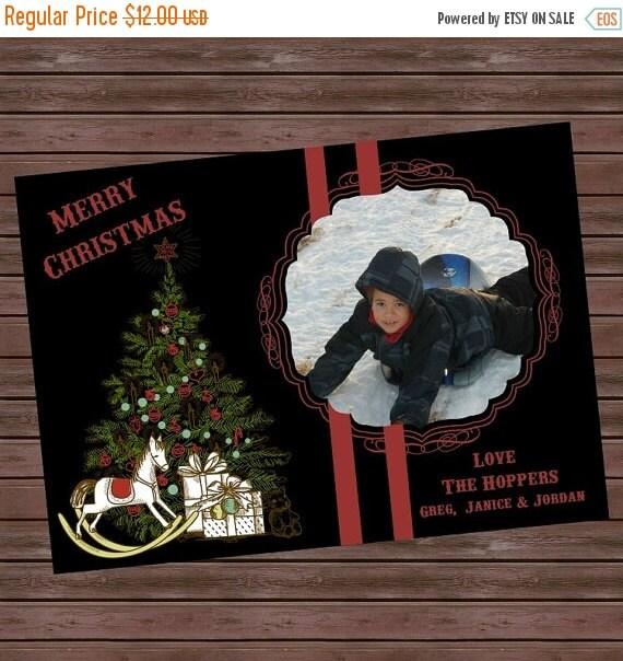 On sale Printable Vintage Christmas Photo Card