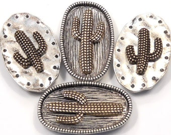 Four Large 2 Hole Slider Bead Focals Antiqued Silver Oval & Brass Plated Saguaro Cactus Beads Desert Southwest Beads Cowboy Beads Western