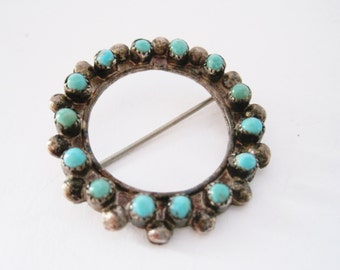 Southwestern Brooch, Vintage Turquoise Pin, Round Brooch, Silver and Turquoise,  Native American Jewelry, Snake Eye