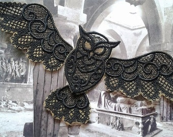 UK Black & Gold gothic flying owl applique, trimming, choker centerpiece, decoration, patch