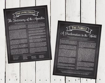 A set of Prints of The Living Christ & The Family Proclamation in Faux Chalkboard - Instant Download