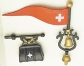 Miniature iron flag bell Doctors bag shop signs village red cross details house town display model