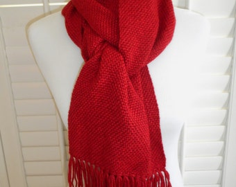 Handwoven Scarf - Red Scarf - Winter Scarf - Neck Warmer - Plain Weave Scarf - Long Scarf with Fringe - Fashion Scarf