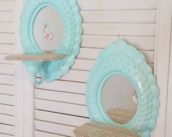 Upcycled Vintage Candle Sconces | Shabby Blue Shelves
