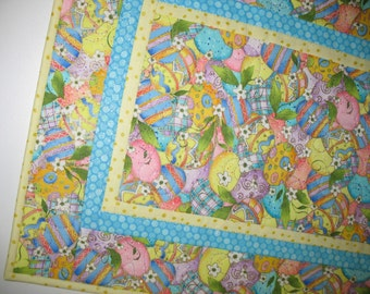 Easter Table Runner with lovely Easter Eggs outlined with metallic