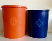 Retro Orange & Blue Tupperware Canisters