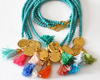 Beaded Necklace - Aqua Beaded Necklace - Two Strand Necklace - Multi Tassel Necklace - Boho Long Necklace - Free Shipping