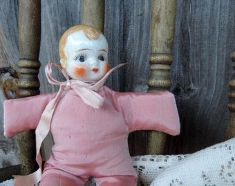 Vintage Doll Pincushion in Satin Cloth Body Porcelain Head Ribbon Dress up with Lace Buttons Hat Adorable