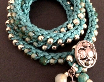 "Crochet wrap bracelet or necklace, aqua, silver, ""Silver sea"", crochet jewelry, spring fashion, textile jewelry, bead crochet, coffycrochet"