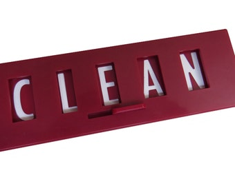 Updated Clean Dirty Dishwasher Magnet Sign, Red