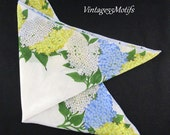 Vintage Handkerchief Flower Print Hydragea Blue Yellow