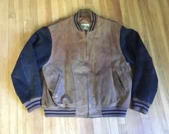 Vintage 1980s 1990s Brown& Black Suede Leather MOTORCYCLE Biker Cafe MoTo Bomber Jacket