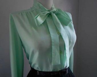 Vintage 1950s 1960s Atomic Light Mint Green Long Sleeve Button Down Blouse w Ascot Tie Neck